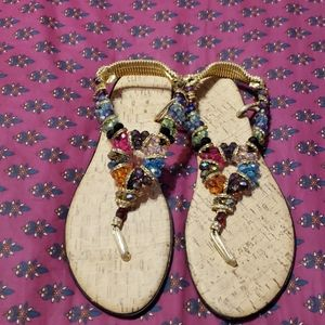 Blinged multicolored women's sandals